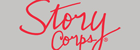 StoryCorps logo, which is the word StoryCorps in red script