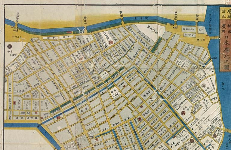 Portion of a map of neighborhood in mid-19th century Tokyo