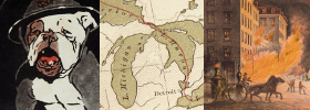 three images: a bulldog wearing a hat, a map of michigan and the great lakes, a building on fire with a horse-drawn fire wagon