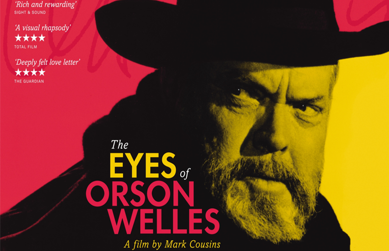 Cropped image of movie poster for The Eyes of Orson Welles, with a red and  yellow background and picture of Orson Welles wearing a hat