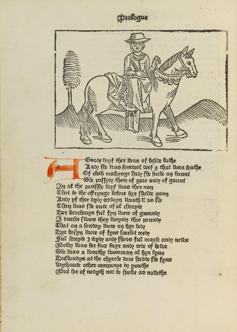 Image of a page of The Canterbury Tales with an image of the Wife of Bath