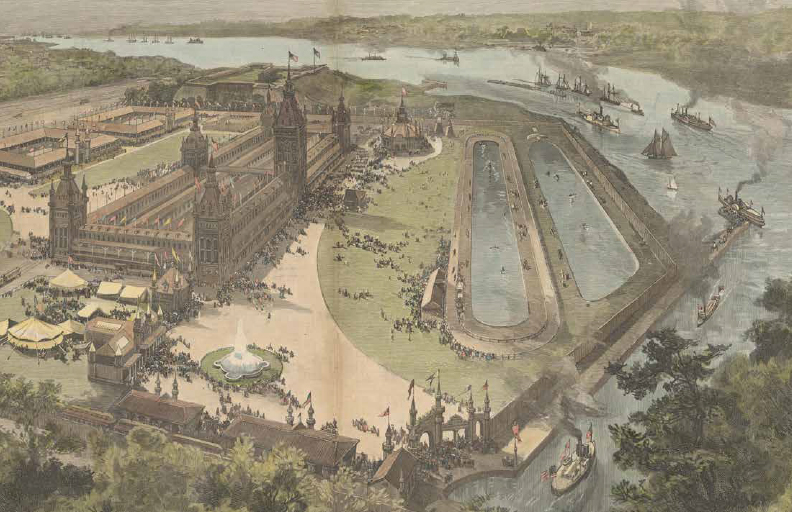 Color print of a bird's eye view of the 1889 Detroit International Fair and Exposition