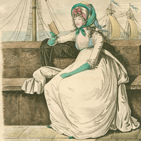 An illustration from 1795 to show women's fashion. There is a woman sitting in a bench by the ocean wearing a white dress that goes from the top of her neck to her feet with a full skirt, teal elbow-length gloves, and a large teal bonnet over curled hair tied under her chin. She is holding a book, and there are ship sails in the background.
