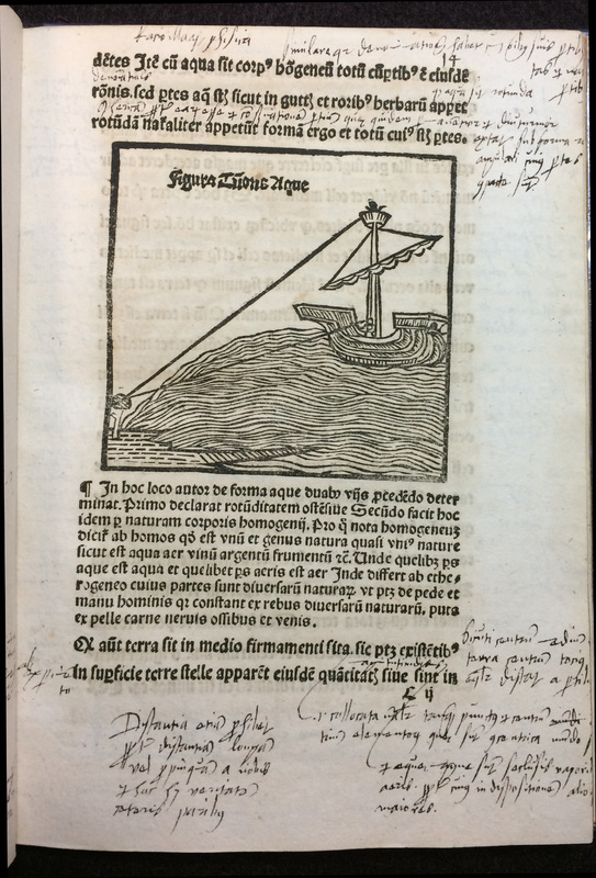 A page from a book with Latin text and copious handmade notes