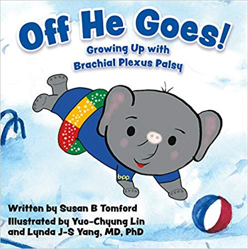 The cover of the book There He Goes, illustrated with a cartoon drawing of an elephant