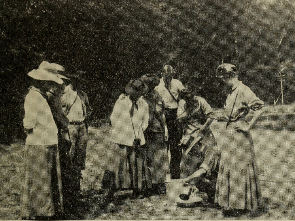 A grainy photograph of a group of people in the woods examining something in a bucket