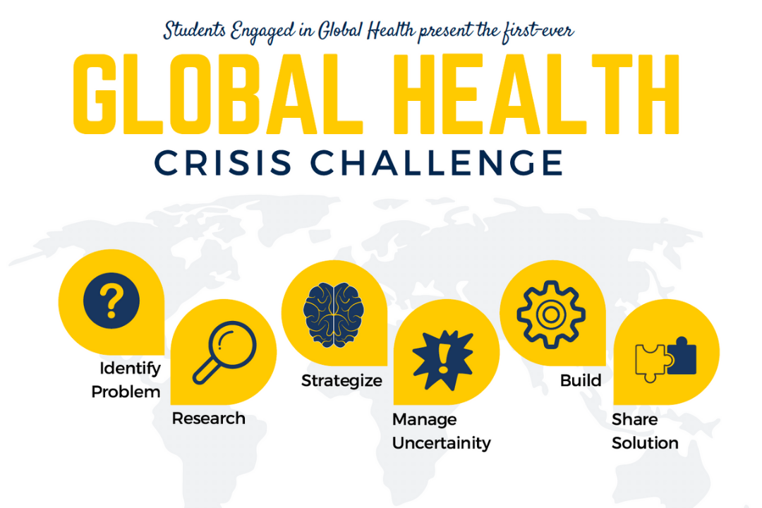 A graphic with text and icons superimposed over a map of the world. It reads Students Engaged in Global Health present the first-ever Global Health Crisis Challenge: Identify Problem; Research; Strategize; Manage Uncertainty; Build; Share Solution