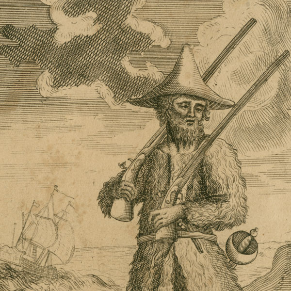 A sepia-toned line drawing of a man with a beard, wearing a pointed hat and a rustic jacket that looks made of animal fur. He's carrying a shotgun on each shoulder, and the hilt of a sword is visible at his waist. In the background there's a ship with tall sails and clouds in the sky.
