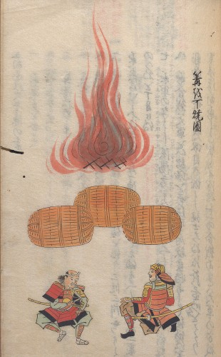 A page from a book showing an illustration of two people wearing red armor and swords seated near an outdoor fire, with unidentified objects in the midground that resemble barrels. The page contains a vertical line of Japanese characters, and the Japanese text from the verso page is faintly visible.