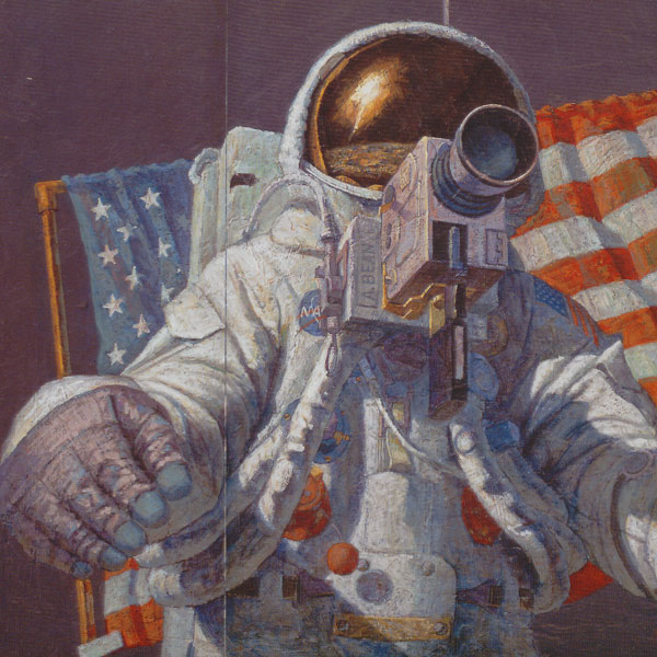 A color drawing of a person wearing a space suit, sitting in a chair, with what looks like a camera strapped to the chest. The back of the chair is draped with a U.S. flag.