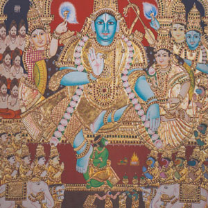A colorful image with multiple figures in it. At the center is a seated figure with blue skin, dressed in gold and wearing a gold headdress.