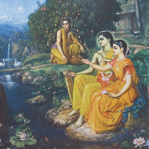 Painted image of a man and woman wearing gold robes, seated on the banks of a river, with a woman and a fruit-bearing tree in the background