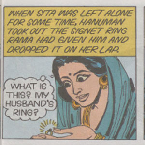 Single panel of a comic strip depicting a woman wearing a blue headscarf and holding a diamond ring. The panel includes narrative text at the top and a dialog bubble